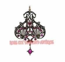 VICTORIAN STYLE ANTIQUE ROSE CUT DIAMOND 2.02ct SILVER AMETHYST BROOCH & PENDANT
