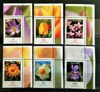 Lot Bund 6 Werte ** Eckränder Nominale Freimarken Blumen 5 - 145 Cent