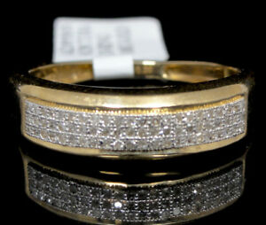 Genuine Diamond & 10k Yellow Solid Gold Mens Wedding Anniversary Ring Pave Band