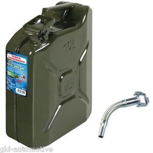 TANICA carburante 10 Litri, in metallo Omologata a norme UN e Gs TUV TRAVASATORE