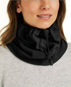 DKNY drawstring polar fleece women's neckwarmer gaiter - BLACK