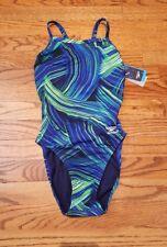 NWT Speedo One Piece Swimsuit Endurance+ Blue Green Print Sz 28
