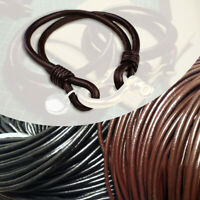 5m Round Real Genuine Leather Cord Rope String For DIY Necklace Bracelet Jewelry