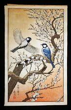 80s Japanese Woodblock Print Birds of the Seasons Spring by Toshi Yoshida (Rox)