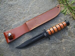 USMC Outdoor Messer aus 420er Stahl, Griff mit Lederriemen, inkl. Lederscheide