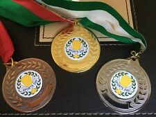 3 x SPORTS DAY MEDALS (50mm) GOLD,SILVER & B - FREE ENGRAVING,CENTRES & RIBBONS