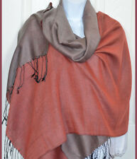 Hand Woven Double Sided Silk Shawl in Coral and Beige Color from India!