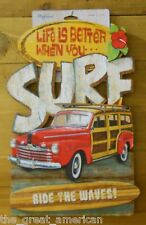 3D Wood Sign LIFE IS BETTER WHEN YOU SURF RIDE THE WAVES, Nautical, Beach, USA
