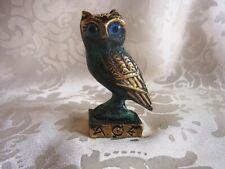 ★ Bronze Figur Eule auf Sockel owl mit antiker Patina (526)