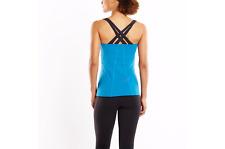Lucy Women's XXL 2X Fitness Fix Tank Blue & Black Workout Top New w/Tags
