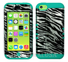 For Apple iPhone 5c KoolKase Armor Hybrid Silicone Cover Case - Zebra Silver