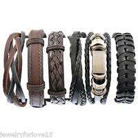 6tlg Herren Armkette Wickelarmband Armschmuck Lederband Geflochten Verstellbar