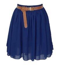 Women Lady Chiffon Pleated Mini Skirts Retro High Waist Double Layer | 25 Colors