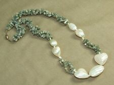 Vintage 3 Strand Raw Polished Dyed Green Shell Beads & MOP Puffy Heart Necklace