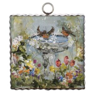 Round Top Collection NWT - Mini Bird Bath Time Print - Metal & Wood