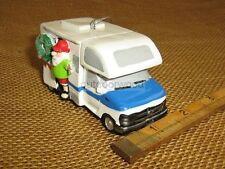 Blue White Rv Camper Santa & Wreath Ornament by Mw Cannon Falls