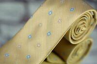 Joseph Abboud Men's Tie Yellow Pearl Blue Geometric Woven Silk Necktie New