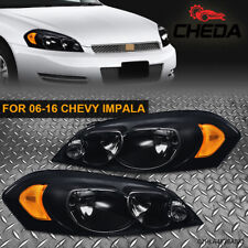 Pair Of Signal Headlights Fit For 06 16 Chevy Impala Black Housing Amber Corner Fits 2006 Impala