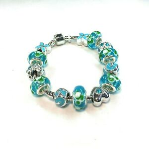 Aqua Marine and Green Bead Charm Bracelet