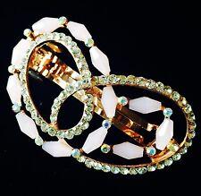 USA  Barrette Hair Clip Rhinestone Crystal Hairpin Medium Gold Heart PINK 02