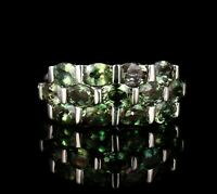 COLOR JEWELS SIGNED NATURAL GREEN SPINEL 14K WHITE GOLD THREE ROW WIDE BAND RING