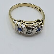 Art Deco Ring G - Gold 585 ca. 0,16ct Alt Brilliant & Saphir Gr.55