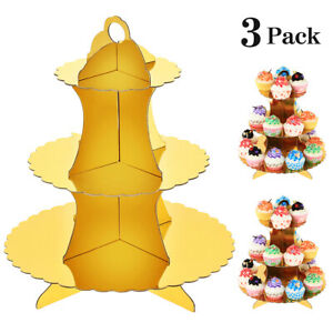 3-pack Gold 3-tier Cardboard Cupcake Stands Paper Cupcake Holders Dessert Tower