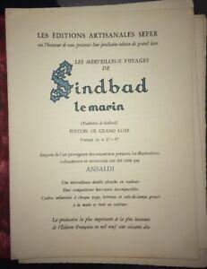 ANSALDI. NEUF CADRES ENLUMINÉS pour SINDBAD LE MARIN.1970.