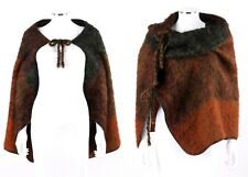 LENA REWELL Plaid Mohair Knit & Leather Convertible Double Tie Wrap / Shawl OSFM