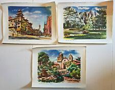 Lot of 3 Vintage California Travel Scenes Painted by Joe Feher United Air Lines