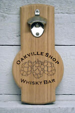 Beer bottle cap opener wall mounted personalized custom engraved hop cone logo.