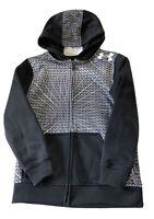 Under Armour Boy's YXS Loose Black  Gray & White Zip Up Hoodie/Jacket