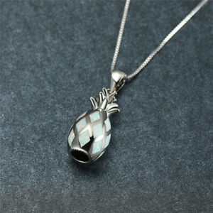Cute Female Silver Charm White simulated Opal Fruit Pineapple Pendant Necklace