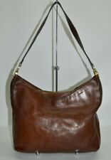 Gold Pfeil Handmade In Germany Vintage Brown Leather Zip Hobo Shoulder Bag