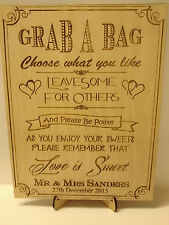 Wedding Sweet Table Sign Vintage Rustic Laser Engraved with Free Stand