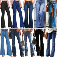 Women's High Waisted Flares Bootcut Flared Denim Jeans Wide Leg Pants Trousers