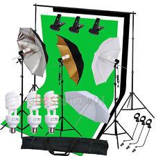 Studio Photography Kit 3 Light Bulb Umbrella 3 Backdrop Background Stand Kit Set