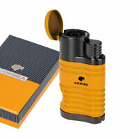 COHIBA Windproof Metal 4 Torch Jet Flame Cigar Cigarette Lighter w/Punch Yellow