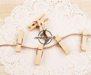 Mini Clips 35mm Natural Wooden Clothe Photo Paper Peg Clothespin Craft For 50x