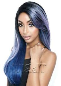 RCP781 CHARLOTTE | BLUE/GREEN/ROSE | LONG STRAIGHT LACE FRONT WIG | MANE CONCEPT