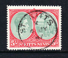 ST KITTS 1938-50 5/- WITH BREAK IN FRAME SG 77bb FINE USED FORGED CANCEL.