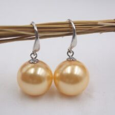 Real S925 Silver Earrings Women's Mother of Pearl Yellow Ball Earrings 30mmL