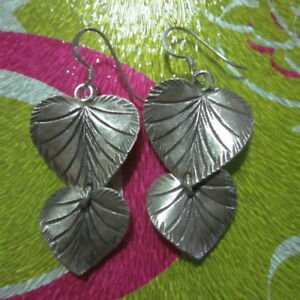 925 Fine Silver Earrings Jewelry Lovely Sweet Double Layer Leaf texture