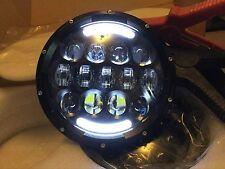 land rover defender 7'' Black LED Head Lights wrangler 105watt Indicator Flash