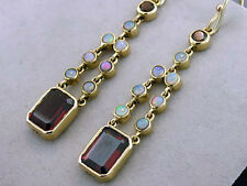 Genuine 9ct SOLID Yellow Gold Natural Garnet & Opal Articulated Drop Earrings