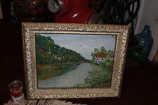 Vintage Oil Painting Delaware & Raritan Canal-Signed Richard Ochs-1965-Folk Art