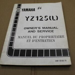 MANUEL REVUE TECHNIQUE D ATELIER YAMAHA YZ 125 L 1984 SERVICE MANUAL YZ125 125YZ