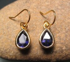 Sterling silver with 18k gold plate cut BLUE IOLITE earrings. Gift bag.