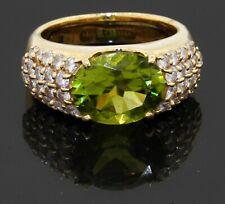 Heavy 18K yellow gold 4.50CT diamond & peridot cocktail ring size 5.75