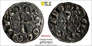 FRANCE La Marche Silver Hugues IX (1199-1219) Denier PCGS XF DETAILS Dup-960 (1)